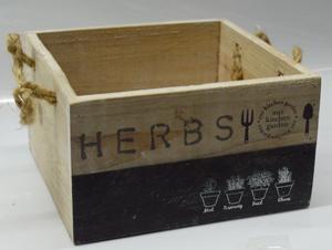 Maceta cuadrada de madera blanca con estampado de textos 15x15x9cm