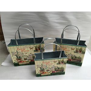 Maceta de lámina diseño bolsa estampada vegetales de 27x10x22-35cm