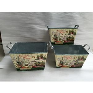 Maceta de lámina con estampado de vegetales de 27x19x18-21.5cm