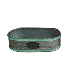 Maceta oval de lámina con franja verde y placa de 35X17X10cm