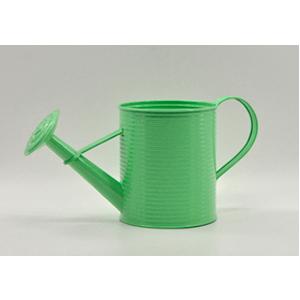 Regadera de lámina diseño a rallas verde de 12x12x16cm