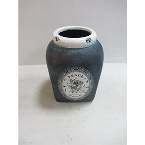 Tibor de cerámica azul con blanco y estampado de PEACE de 16x16x21.5cm
