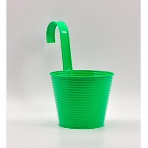Maceta de lámina para colgar color verde de 14x10x13cm