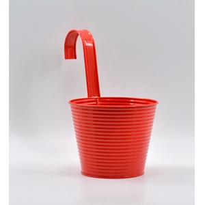 Maceta de lámina para colgar de rojo de 14x10x13cm