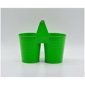 Maceta de lámina doble con asa diseño cubetas en color verde de 22x8x11cm