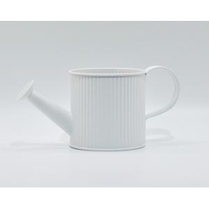 Regadera de lámina diseño a rallas verticales color blanco de 12x12x12cm