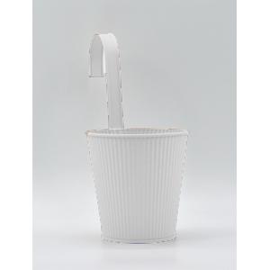 Maceta de lámina para colgar color blanco de 14x10x12cm