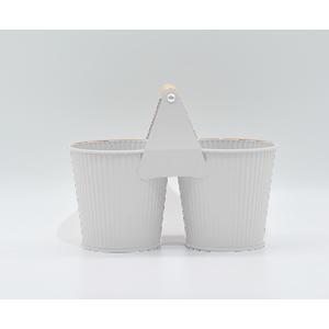 Maceta de lámina doble con asa diseño cubetas en color blanco de 22x8x11cm