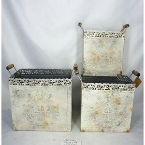 Maceta de lamina estampado antiguo beige con asas de 32x16x33x36cm