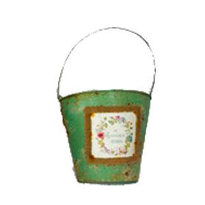 Maceta de lámina verde para pared con estampado diseño antiguo de 22x22cm