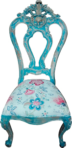 Silla de madera estilo vintage azul con asiento estampado de flores de 59x59x116cm