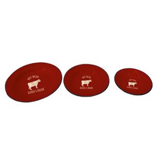 Plato de peltre rojo con orilla negra y estampado de vaca beige de 24x3cm