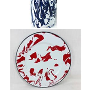 Plato de melamina redondo de peltre azul con blanco de 34x34x1.5cm
