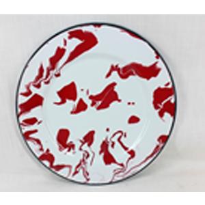 Plato de melamina redondo de peltre rojo con blanco de 34x34x1.5cm