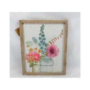 Cuadro de madera con lienso estampado de flores en florero de 37x2x45cm