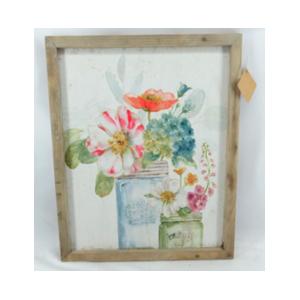 Cuadro de madera con lienso estampado con flores de amapola de 37*2*45