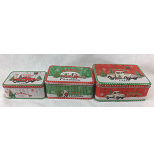 Juego de 3 cajas de lámina con estampado navideño de 29x22x11cm