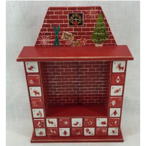 Calendario diseño chimenea con cajoncitos en color rojo de 36x10x48.5cm