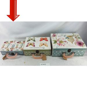Maletín de madera con estampado de flores chica