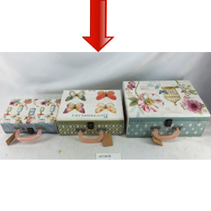 Maletín de madera con estampado de flores mediana