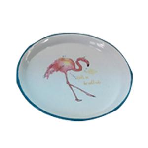Plato de peltre blanco con diseño de flamingo mediano