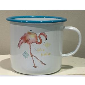 Taza de peltre blanca con diseño de flamingo de 9x9x8cm