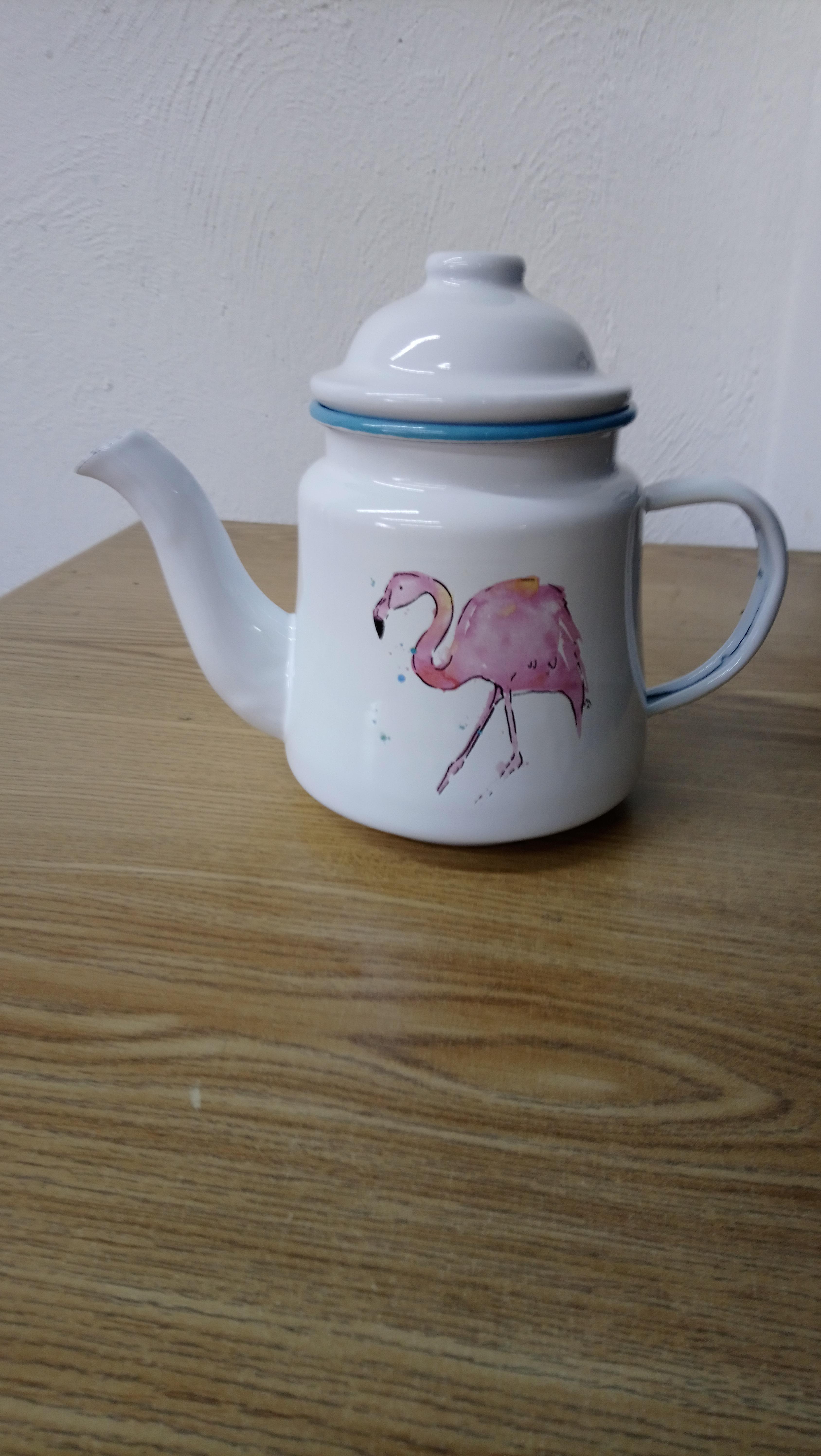 Tetera de peltre blanca con estampado de flamingo de 11x11x11cm