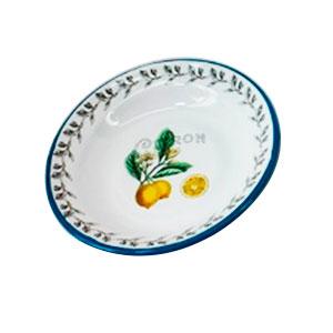 Plato de peltre blanco estampado limones de 22x22cm