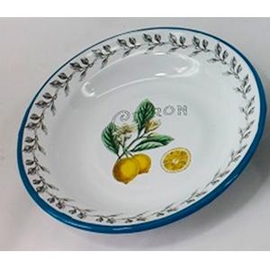 Plato de peltre blanco estampado limones de 24x24x3cm