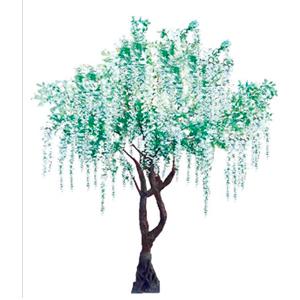 Árbol con flores blancas y hojas verdes de 340cm