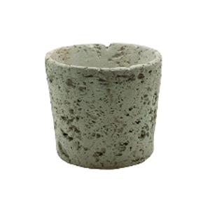 Maceta cilíndrica diseño piedra color gris de 18x18x16cm
