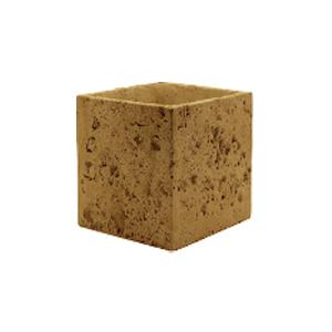 Maceta cuadrada diseño piedra color amarilla de 14x14x12cm