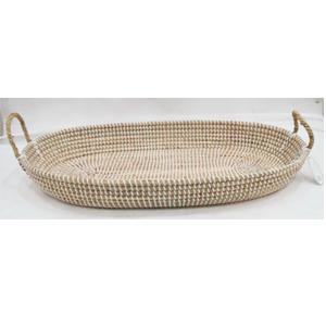 Canasta oval tejido de raiz c/fibras plasticas beige y asas de 80x43x18cm