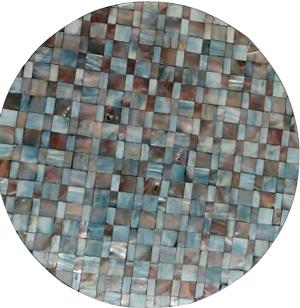 Plato de presentacion de madera con incrustaciones de conchas grises de 38x3cm