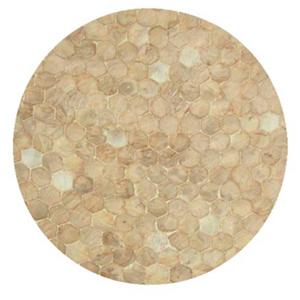 Plato de presentacion de madera con incrustaciones de conchas beige de 38x3cm
