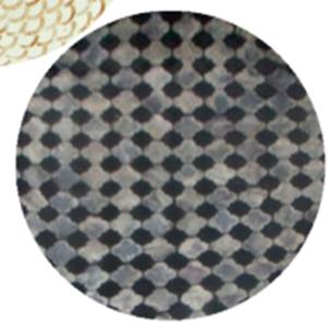 Plato de presentacion de madera con incrustaciones de conchas diseño rombos gris y negros de 38x3cm
