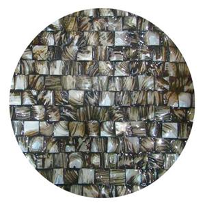 Plato de presentacion de madera con incrustaciones de conchas diseño cuadros cafes de 38x3cm