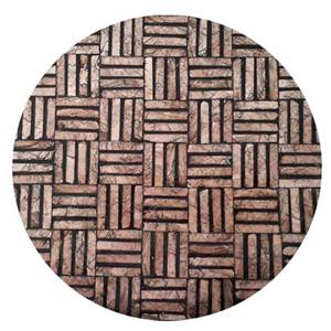 Plato de presentacion de madera con incrustaciones de conchas diseño grecas cafes de 38x3cm