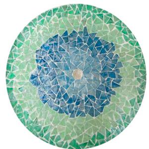 Plato de presentación de madera con incrustaciones de conchas verdes y azules de 38x3cm