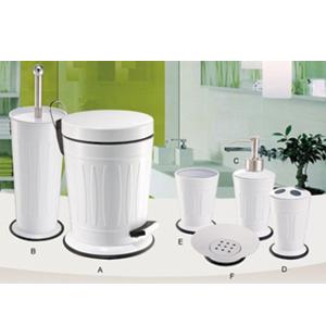 Set de accesorios para cuarto de baño c/6 pzas de metal color blanco