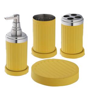 Set de accesorios para cuarto de baño c/4 pzas de metal color amarillo