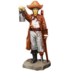 Pirata con linterna en mano y loro de 96.5x90.5x218cm