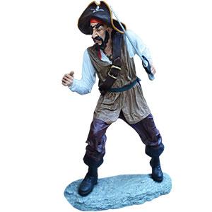 Pirata con parche en el ojo y espada de 124x110.5x178cm