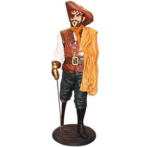 Capitan pirata con espada y pata de palo de 69x67.5x195cm
