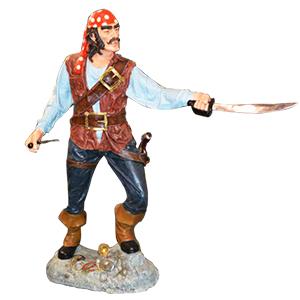 Pirata con cuchillos y paliacate rojo de 197x70.5x193cm