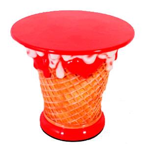 Mesa de helado roja de 83x83x75cm
