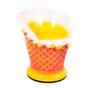 Silla de helado amarilla de 65x63x71cm