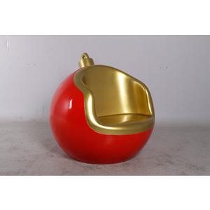 Sillón diseño esfera en color rojo con dorado de 102x100x95cm