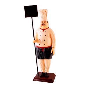 Figura de cocinero con letrero de 71x62x227cm