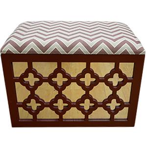Baul de madera calado diseño rombos y espejos en rojo de 56x36x40cm